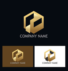 cube 3d gold logo vector image