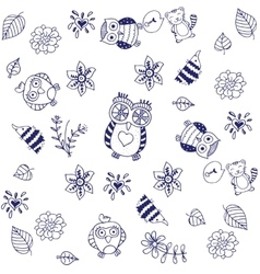 Doodle with cute owls vector image