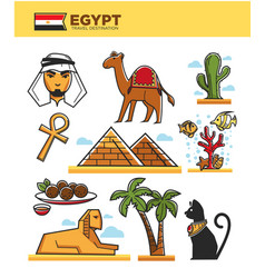 Egypt travel tourism landmarks and culture tourist vector