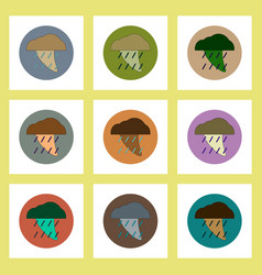 Flat icons set of tornado and rain concept on vector