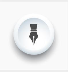 Fountain pen icon on a white 3d button vector