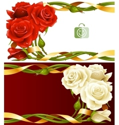 Frame set of red and white roses vector