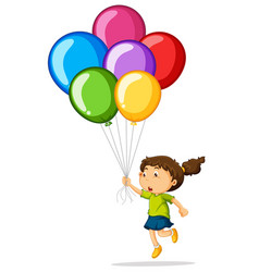 girl holding colorful balloons vector image vector image
