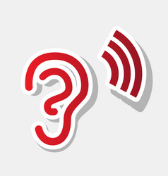 Human ear sign new year reddish icon with vector