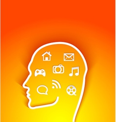 Human head with multimedia elements vector
