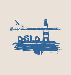 lighthouse on brush stroke seashore vector image