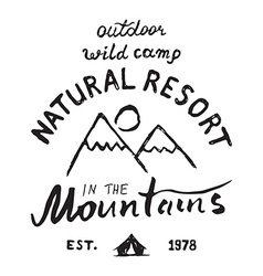 Mountains handdrawn sketch emblem outdoor camping vector image vector image