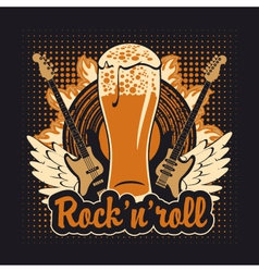 rock and roll beer vector image vector image