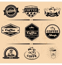 Set of coffee labels design elements vector