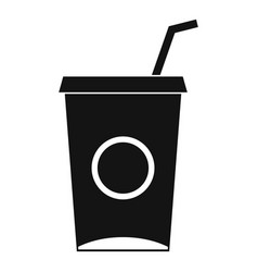 Soft drink in paper cup icon simple style vector