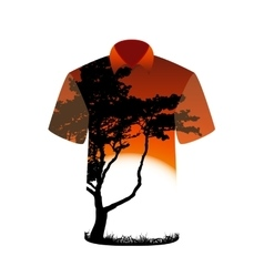 T-shirt with the image of tree and sunset vector image vector image