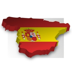 Three dimensional map of Spain in flag colors vector image