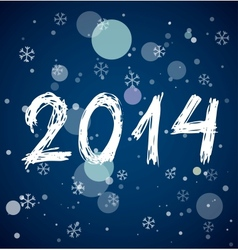 White new year 2014 on blue background vector image