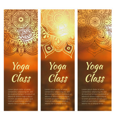 yoga banner set with mandala vector image