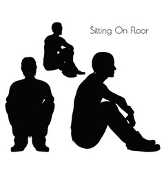 Man in sitting on floor pose on white background vector