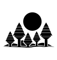 Isolated forest and sun design vector