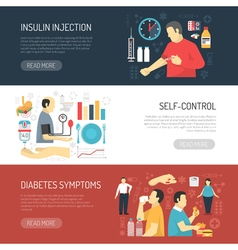Diabetes symptoms horizontal banners vector