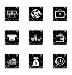 Monetary resource icons set grunge style vector