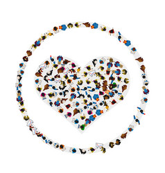 a group of people in a shape of heart icon in a vector image
