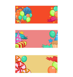 Colorful happy birthday horizontal banners vector