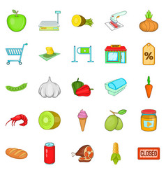 vegetable shop icons set cartoon style vector image
