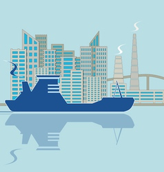 Silhouette of ship on city background vector