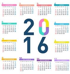 2016 square calendar vector