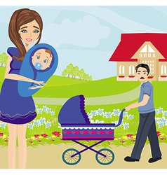 Family for a walk on a sunny day vector