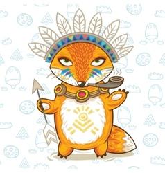 print of a cartoon indian fox vector image