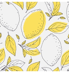 Outline seamless pattern with hand drawn lemon vector