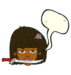 Cartoon woman holding knife between teeth with vector