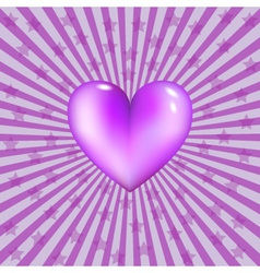 Glassy violet heart vector