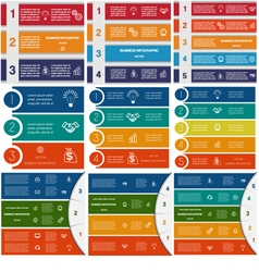9 templates infographics cyclic processes vector