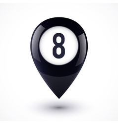 Black map point in magic 8 ball style vector