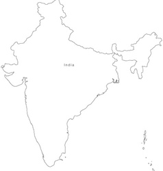 Black white india outline map vector