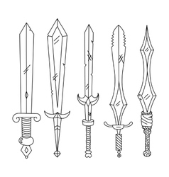 Hand drown set of swords isolated vector