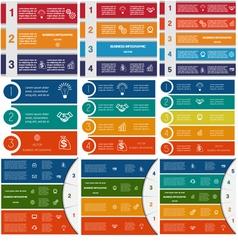 9 templates infographics cyclic processes vector