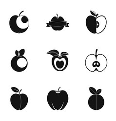 Apple icon set simple style vector
