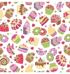 Baking and desserts seamless pattern background vector image vector image