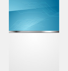 Blue and grey technology background with circuit vector
