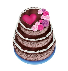 Celebratory cake decorated roses and heart vector
