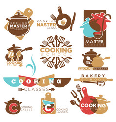 Cooking school master class bakery chef vector
