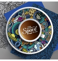 Cup of coffee and hand drawn space doodle vector