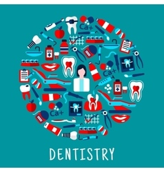 Dentist with dentistry icons round symbol vector image