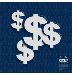 dollar signs on blue background vector image vector image