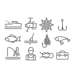 Fishing Line Icons vector image vector image