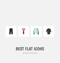 Flat icon clothes set of trunks cloth pants vector