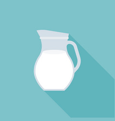 glass jug of fresh milk icon vector image