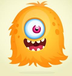 Happy cartoon orange monster character vector