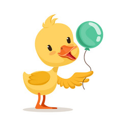 Little cartoon duckling character holding blue vector